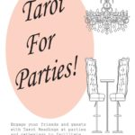 Book cover illustration of an upscale bar table and chandelier. Tarot For Parties! by M.wilson