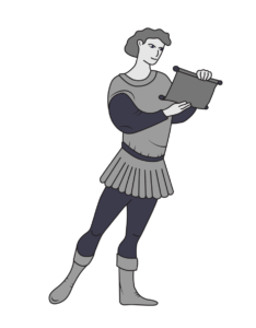 Black, white, and grey illustration of a medieval - looking page. Writers Arcanum: content writers.