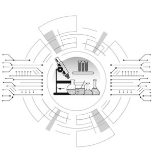 Black, white, and gray illustration of a research lab inside of a computer design. Writers Arcanum -